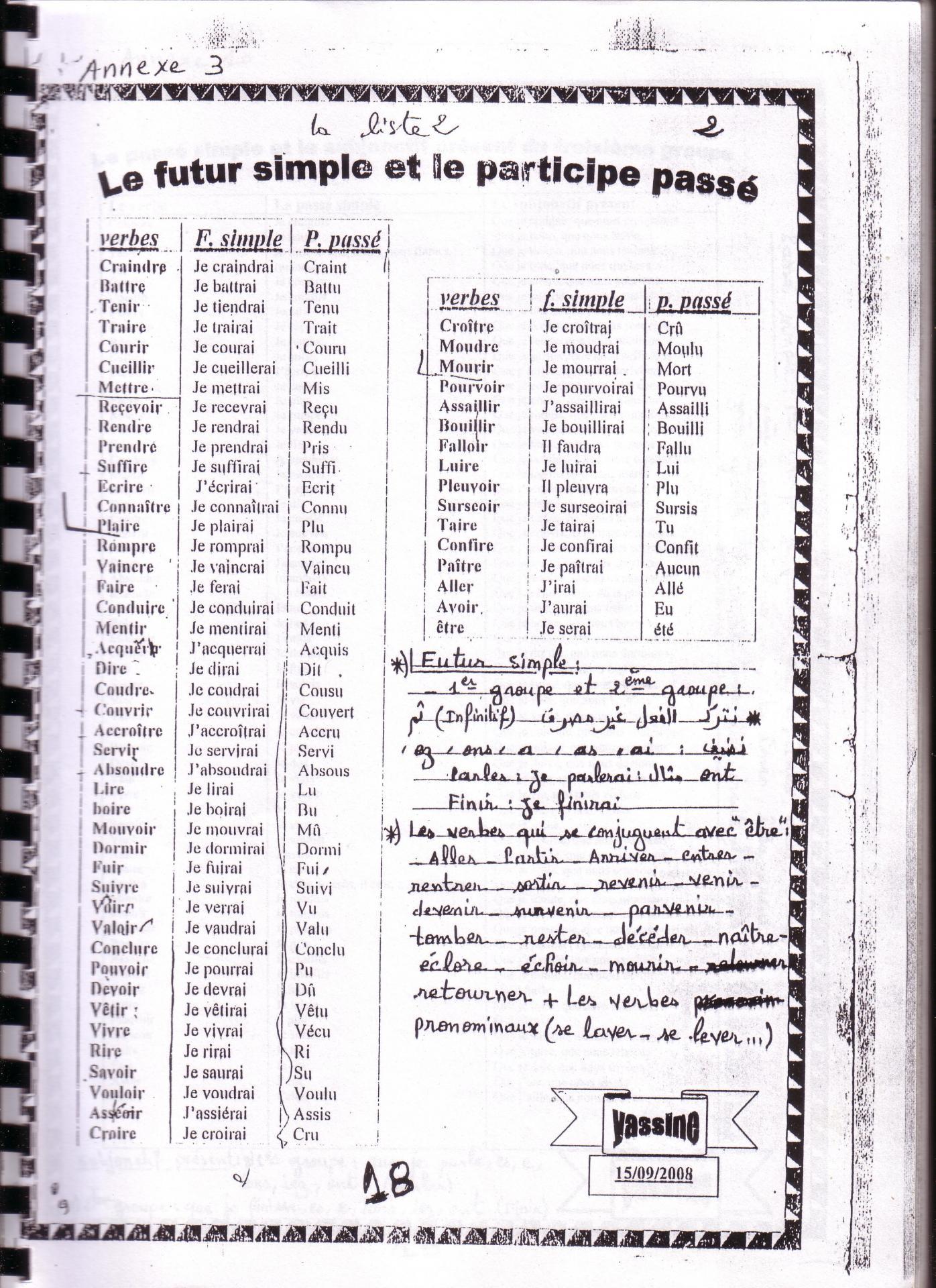 4 Listes De Conjugaison